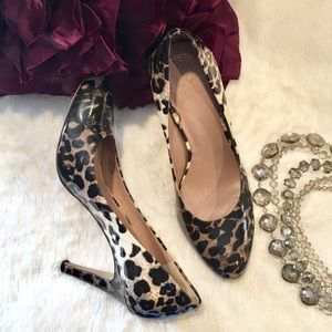 Vince Camuto Patent Leopard Heels